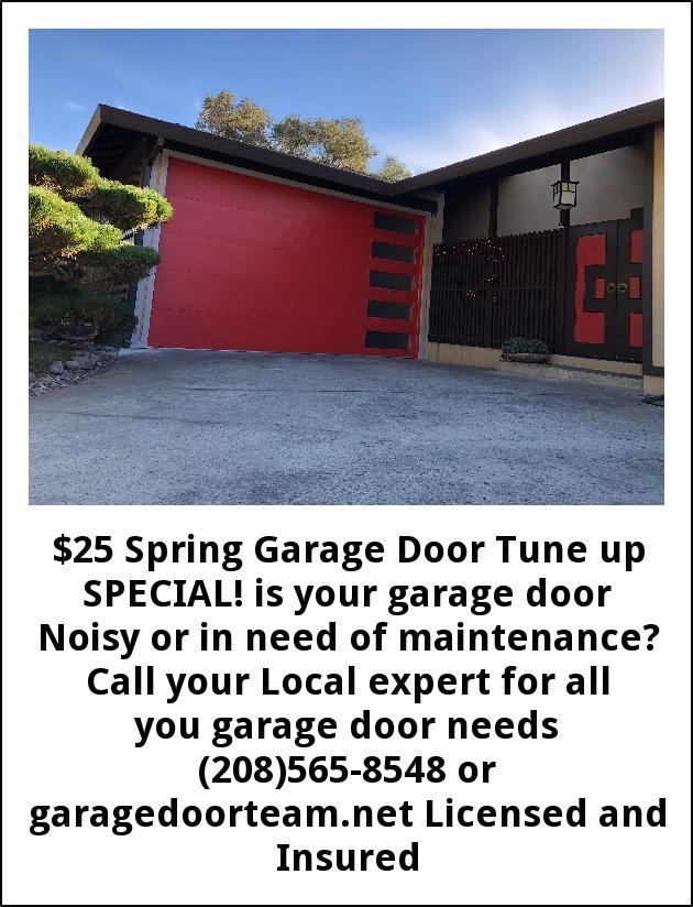 $25 Spring Garage Door Tune Up